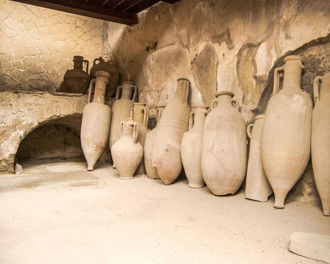 Ancient Roman amphorae, Herculaneum, Italy Amphorae Amphoras Ancient Ancient Civilization Architecture Cellar Herculaneum No People Roman Roman Remains