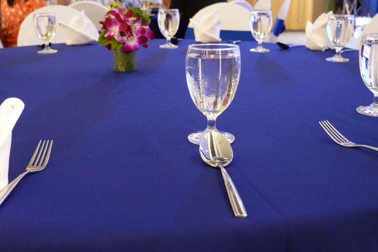 Wine glasses on table in restaurant