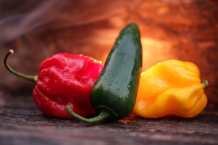 Chili  Chili Pepper Close-up Focus On Foreground Food Freshness Green Habeneros Hot Hot Fire Indulgence Jalapeños Juicy No People Orange Color Organic Pimientos Rawit Red Ripe Selective Focus Smoke - Physical Structure Still Life Wood - Material Yellow