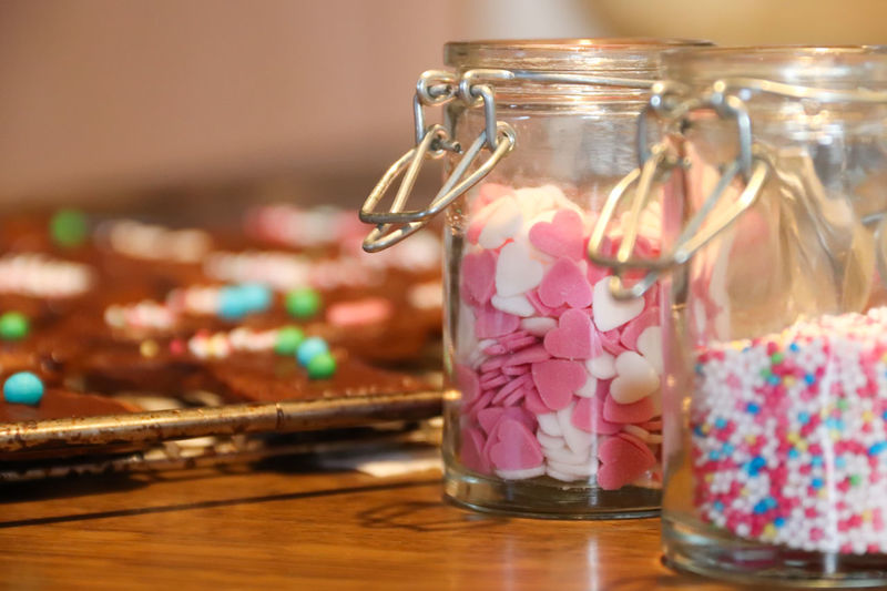 Close-up of cookies in jar on table