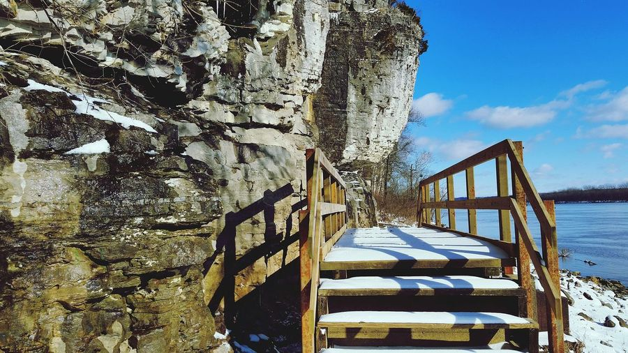 Approach to the historical cave entrance Historical Place EyeEm Selects Railing Day Sky Beach Sea Nature Water