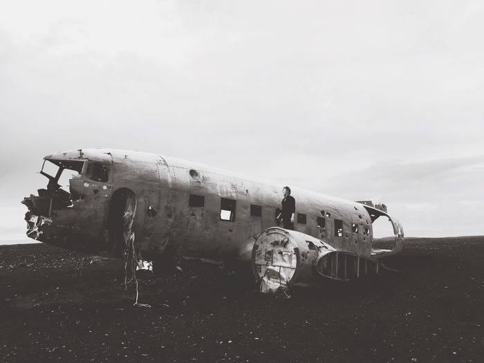 Abandoned Airplane Against Sky