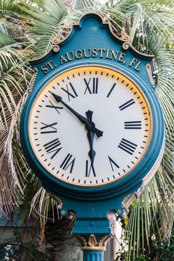 Close-up of blue clock