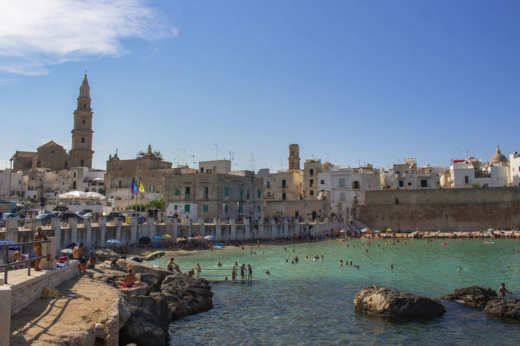 Built Structure Architecture Building Exterior Sky Water Building City Nature Travel Destinations Day History The Past Sea Rock Tourism Travel Religion Clear Sky Outdoors Puglia South Italy Italy First Eyeem Photo Blue Reflex