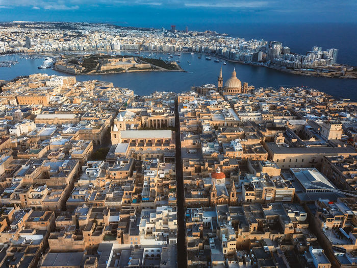 Aerial view of valletta city in malta