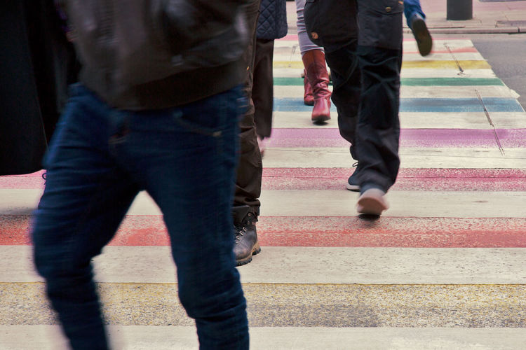 Rainbow Colors City Colorful Footpath Group Of People Street Walking Zebra Stripes