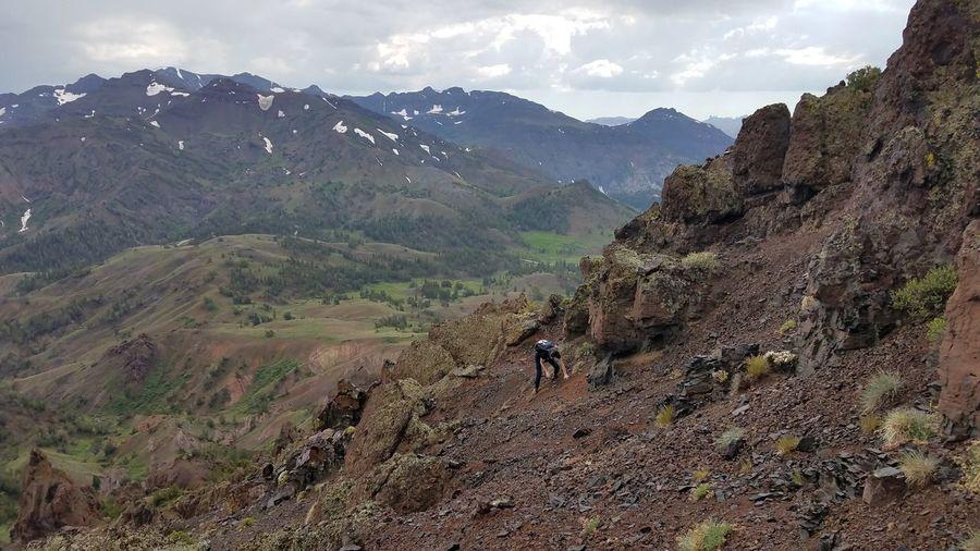 Sonora Pass Sonora Peak High Sierras Sierra Nevada Sierra Nevada Mountains Alpine Alpine Landscape Alpine Hiking Alpine Summer Hiker Hiking Backpacking Mountain Climbing Scrambling Rock Scramble EyeEm Selects Mountain Adventure Hiking Extreme Sports Sky Mountain Range Landscape Clambering Free Climbing Bouldering Rock Face Backpack