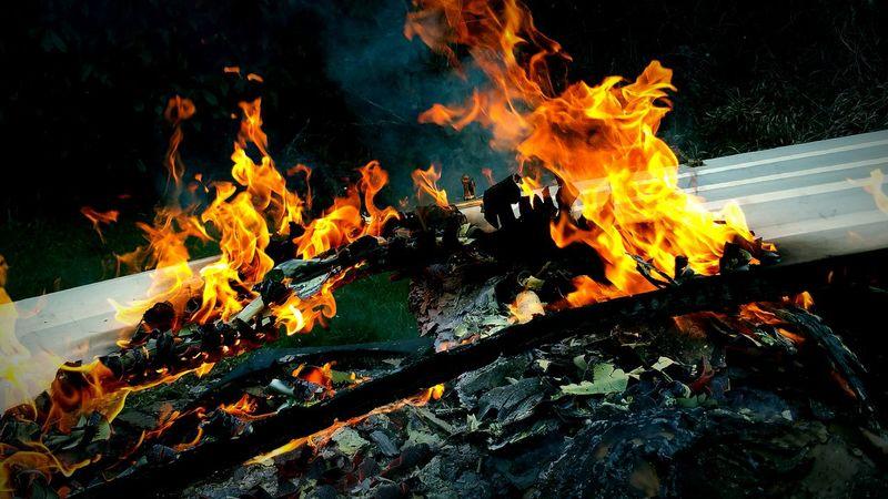 Burning Flames Fire My Back Garden Red Orange Garden Fire Incinerate