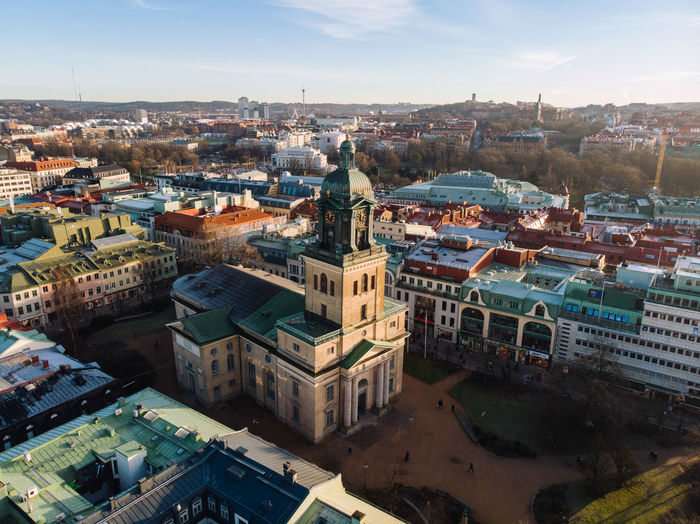 "A photo of ""Domkyrkan"" in Gothenburg, Sweden Building Exterior Architecture Built Structure City Cityscape Building Residential District High Angle View Sky Nature Day Travel Destinations Outdoors Drone  Dronephotography Gothenburg, Sweden Göteborg, Sweden"