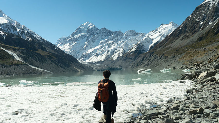 Rear view of man standing on snowcapped mountain
