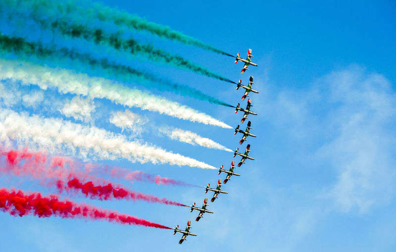 Frecce Tricolore. Air Vehicle Airplane Day Fighter Plane Motion on the move Plane Skill