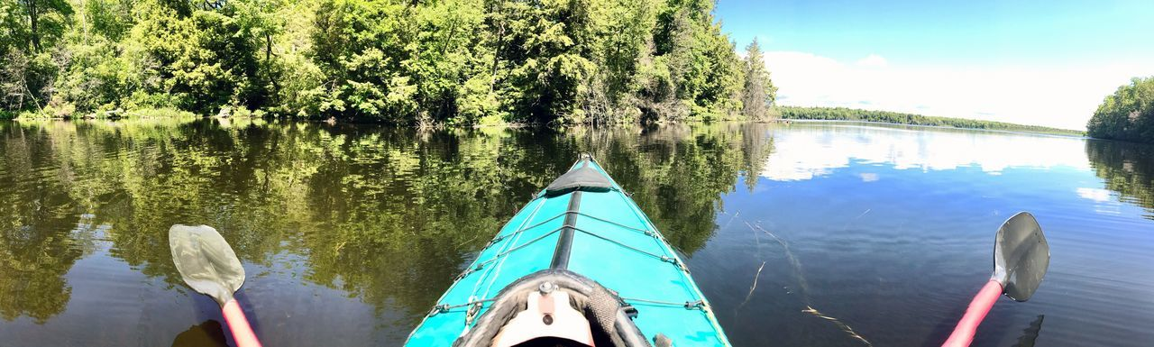 Every day is another adventure waiting to happen 🛶 EyeEmNewHere Water Day Tree Reflection Nature Nautical Vessel No People Transportation Lake Outdoors Beauty In Nature Sky Close-up Kayak Brevertlake EyeEmNewHere