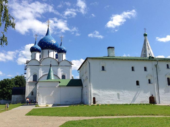 Cathedral of the Nativity of the Theotokos, Russia, Suzdal Russia. Suzdal Russia Suzdal Golden Ring Golden Ring Of Russia Cathedral Theotokos Suzdal Kremlin Architecture Dome Religion Church Orthodox UNESCO World Heritage Site Travel Destinations Landmark Summer Spirituality Day Place Of Worship Blue Outdoors White Kremlin Grass Travel