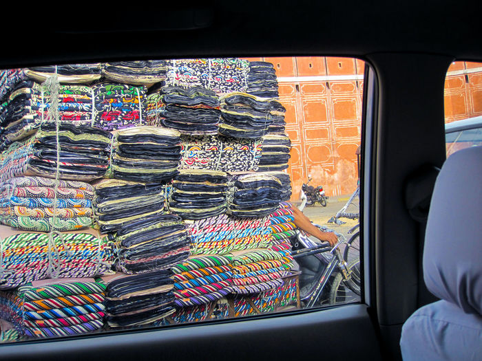 Fabrics India Car Cat Choice Day Land Vehicle Large Group Of Objects Mode Of Transportation Motor Vehicle Multi Colored Outdoors Public Transportation Real People Stack Transparent Transportation Travel Vehicle Interior Window