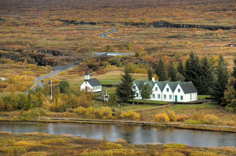Beauty In Nature Built Structure Countryside Green Color Iceland Idyllic Lake Landscape Mountain Nature No People Non-urban Scene Outdoors Plant Remote Rural Scene Scenics Sky Thingvellir National Park Tranquil Scene Tranquility Tree Village Water