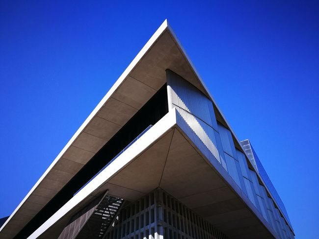 Architecture Triangle Shape Built Structure Low Angle View Blue Clear Sky Sky Outdoors Building Exterior No People Day Acropolis Museum Museum