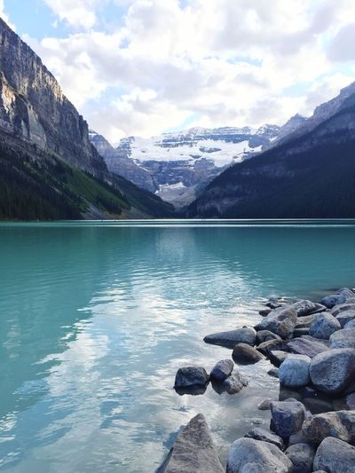 Lake Louise Snow Cap Snow Horizon Landscape Beautiful Canada Clouds Sky Mountains Water Calm Blue Louise Lake Rock Mountain Water Beauty In Nature Nature Lake Sky Outdoors Tranquil Scene Snow Landscape Iceberg Scenics Waterfront No People Day