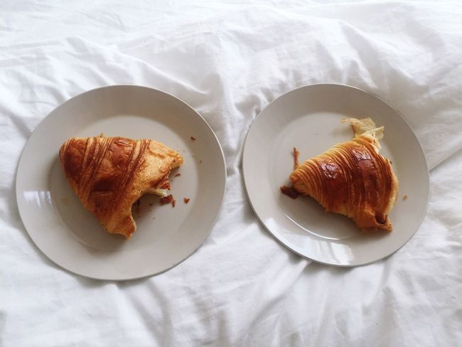 Sharing bed but not croissants Plate High Angle View Food And Drink Food Tablecloth Ready-to-eat Freshness Indoors  Healthy Eating Serving Size No People Breakfast Sheet Hotel Room Croissant Paper Close-up Eaten Day