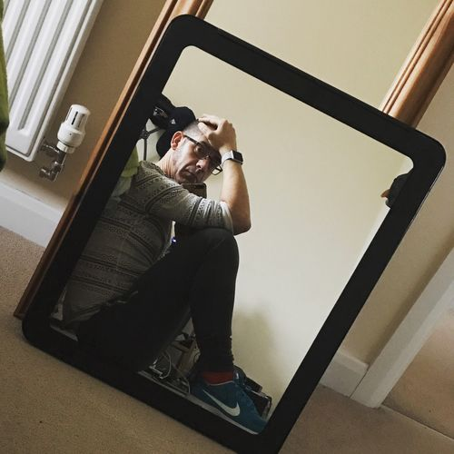 Man in the mirror Self Portrait Sitting One Person Uniqueness