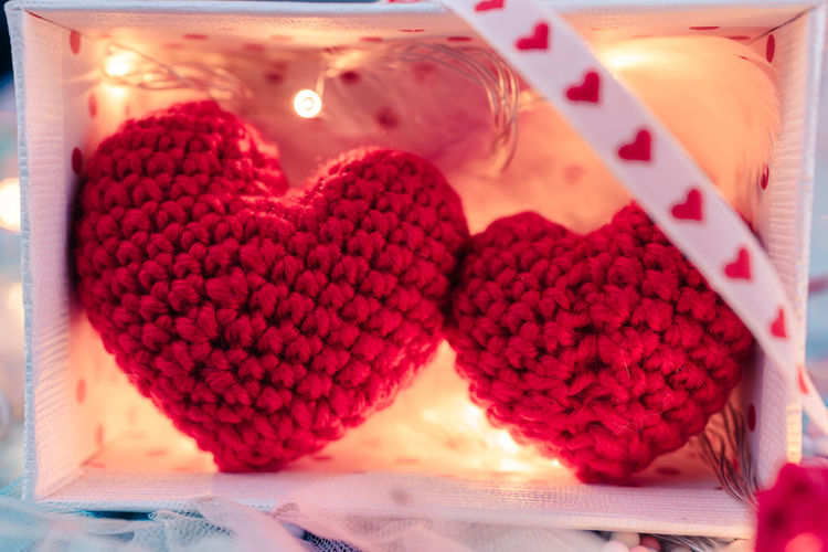 Close-up of heart shape cake on table