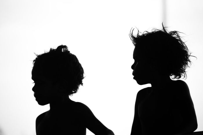Australia Outback Bonding Childhood Headshot Outback Australia People Portrait Profile View Side View Silhouette Togetherness Two People White Background