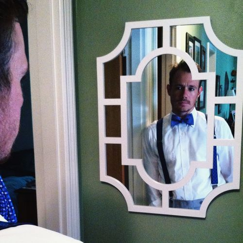Button Up Portrait Mirror Dapper Bowtie Handsome Sharp Dressed Man