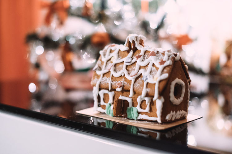 Close-Up Of Decorated Gingerbread House