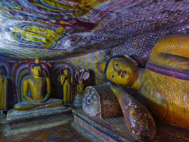 Wall Painting Buddha Statue Cave Close-up Day Indoors  No People Religion