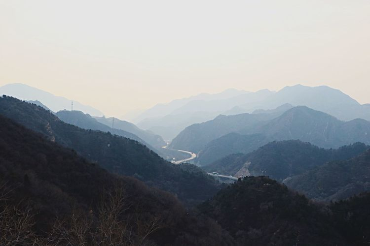 Mountain Mountain Range Beauty In Nature Nature Scenics Outdoors Silhouette Sky Landscape Adventure No People Day Horizon EyeEmNewHere Great Wall Of China Possibilities  Distance Tranquil Scene Nature The Great Outdoors - 2017 EyeEm Awards