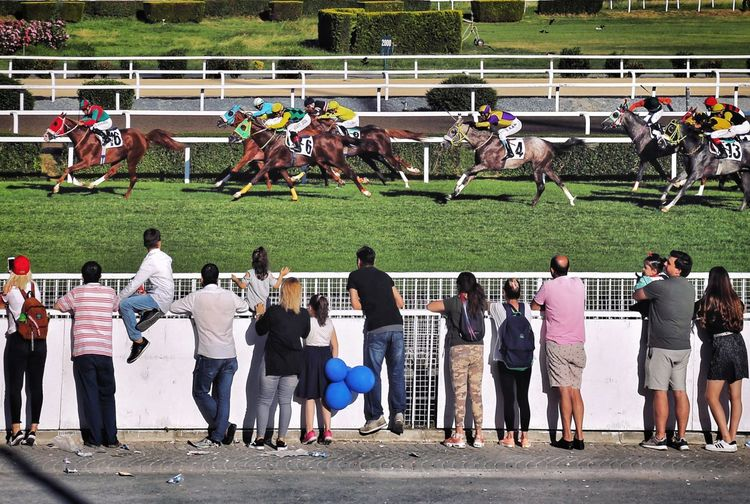 Rear view of people watching horse race