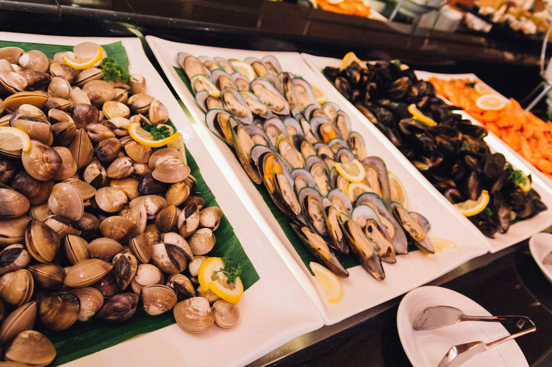 Seafood Shrimp Buffet Close-up Eat Enamel Fish Food Food And Drink For Sale Freshness Hotel Large Group Of Objects Market Mussels Oyster  Prawn Ready-to-eat Restaurant Shell Still Life