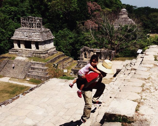 Ruins Stairs Hiking Pyramid Piggyback Help People Together People Together By August 3 2016