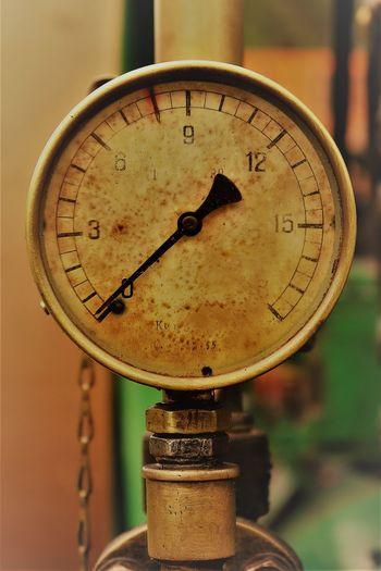Close-up of old gauge