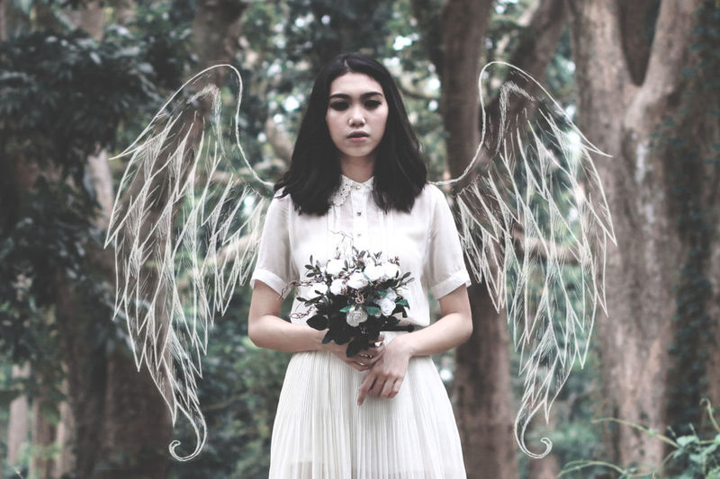 Angel Beauty Conceptual Conceptual Photography  Dark Flowers Forest Lifestyles Long Hair Nature Outdoors Portrait Surrealism Young Adult Young Women