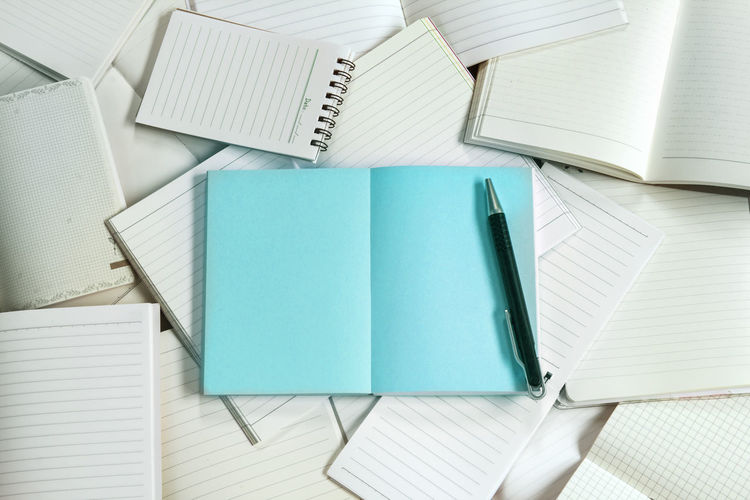 Directly above shot of blue book and pen on lined papers