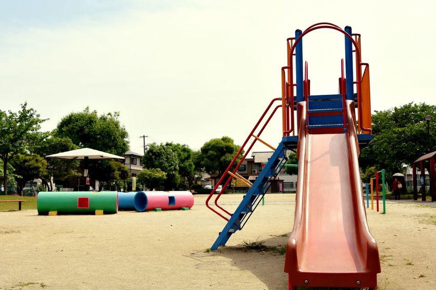 Park Slide Playground Equipment Playground Colorful Skyandtrees Tree Trees Warking Around お散歩Photo 滑り台 Tunnel 大人が遊んだらダメなヤツ。うずうず・・・(*/ω\)