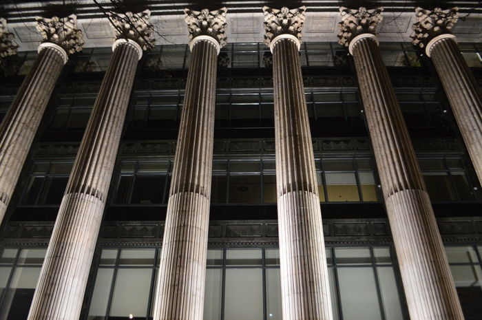 Architectural Column Architecture Building Exterior Built Structure City Column Low Angle View Night Nightphotography No People Outdoors Columns Columns And Pillars The City Light Minimalist Architecture Welcome To Black Art Is Everywhere