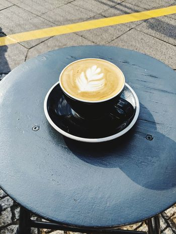 Froth Art Cappuccino Drink Frothy Drink Table High Angle View Coffee - Drink Plate Coffee Cup Close-up