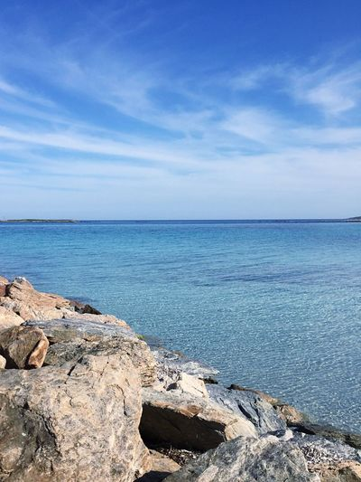 Sea Horizon Over Water Water Nature Scenics Beauty In Nature Tranquility Tranquil Scene Sky Day Outdoors Blue Rock - Object Cloud - Sky No People