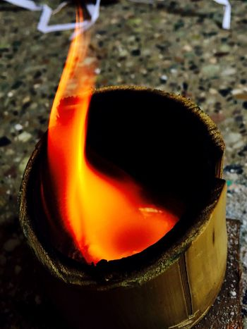 Burning Flame Heat - Temperature Heathrow Terminal 5 Heater Close-up