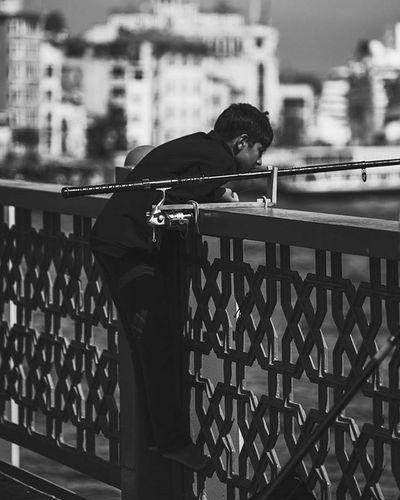 Child Fisher Eminönü Galata Bridge Kopru Black White Bnw Karaköy Fujifilm Xt1 Street Workshop Istanbul City Nice Sky Cloud
