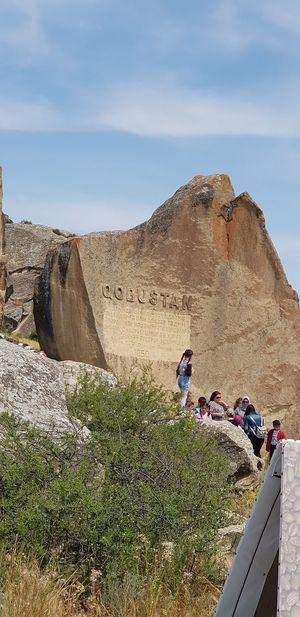 Men Hiking Full Length Hill Sky Landscape Rock Formation