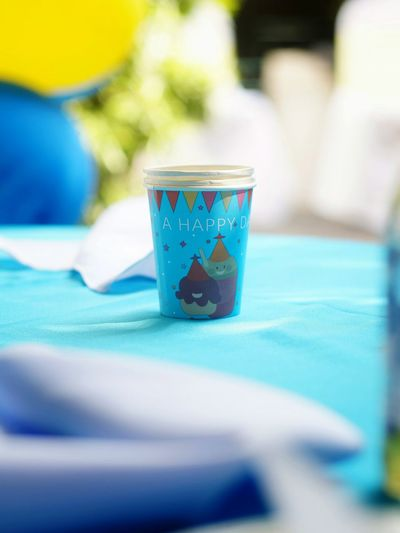 Birthday Party Children's Party Cup Paper Cup Festive Swimming Pool Blue Water Close-up Beverage