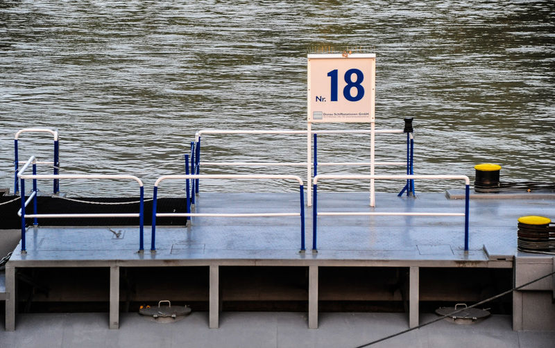 Information sign on lake