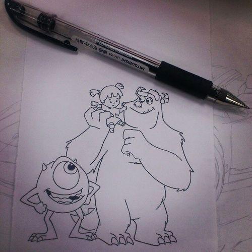 最溫柔跟最可愛的怪獸 Monsters Inc  怪獸電力公司JamesSullivan JamesSullivansulley毛怪MikeWazowskiMikeWazowski大眼仔Boo阿布PixarUSAAmericananimatedfilmcartoonblackpendrawsketckartwork
