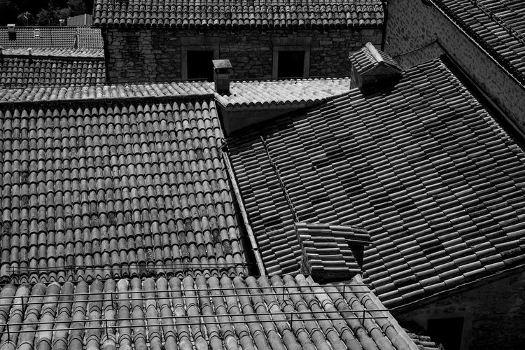 Low angle view of roof and building