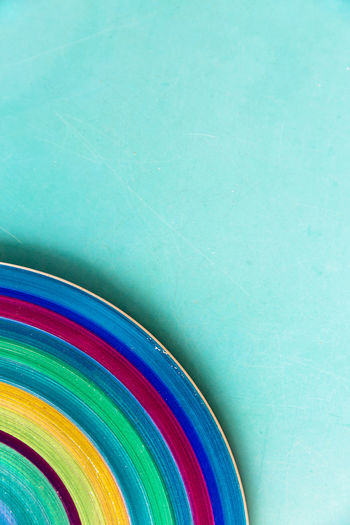 Abstract Backgrounds Blue Circular Segment Close-up Colorful Copy Space Cropped Design Lines & Curves Multi Colored No People Part Of Rainbow Colors Round Still Life Turquoise This Is Queer
