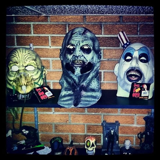 Some of the collection in my basement Robzombie Horrorroom Houseof1000corpses Drsatan