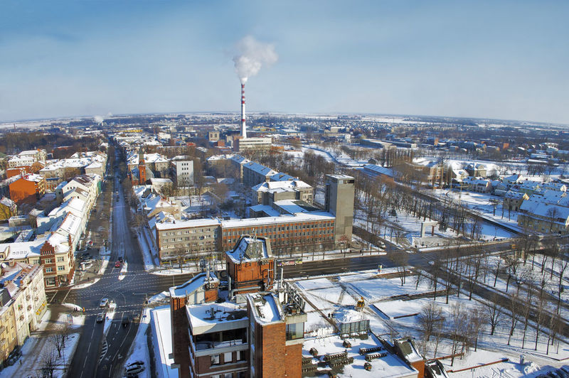 Aerial View Architecture Building Exterior Built Structure Business Finance And Industry City Cityscape Cold Temperature Day Downtown District Environment High Angle View Klaipeda Lithuania No People Outdoors Sky Snow Travel Destinations Urban Skyline Winter