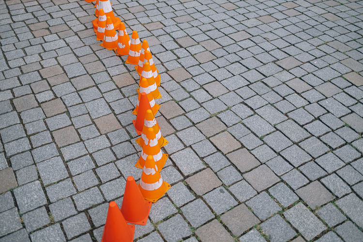 Traffic cone for road works.